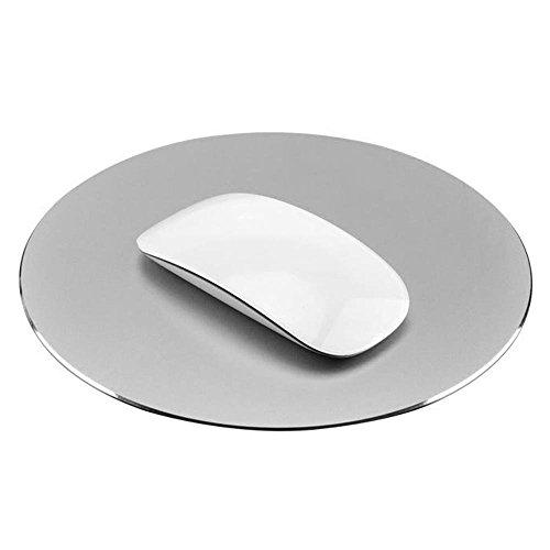 COOLEAD Aluminio Alfombrilla de Ratón Redonda Gaming Mouse Pad Superficie Impermeable y Base de PU Antideslizante Mousepad Metal Juegos Mouse Mat Cojín de Ratón para Oficina PC Ordenador Computer