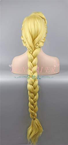 GHK Adult Tangled Cosplay Pruik Prinses Rapunzel Lange Vlechten Blond Synthetisch Haar
