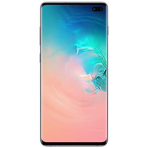 Samsung S10+ plus 128GB 8GB RAM 6.4u0022 Dual Sim 16.0 MP GSM Unlocked Smartphone - Prism White - Manufacturer Refurbished