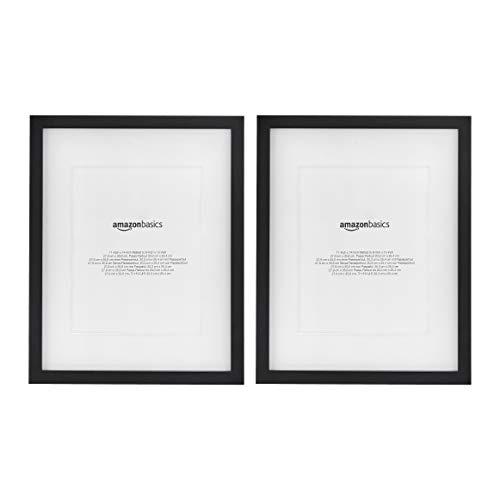 Amazon Basics – Marco para fotos con paspartú, 28 x 36 cm con paspartú de 20 x 25cm, Negro, pack de 2uds.