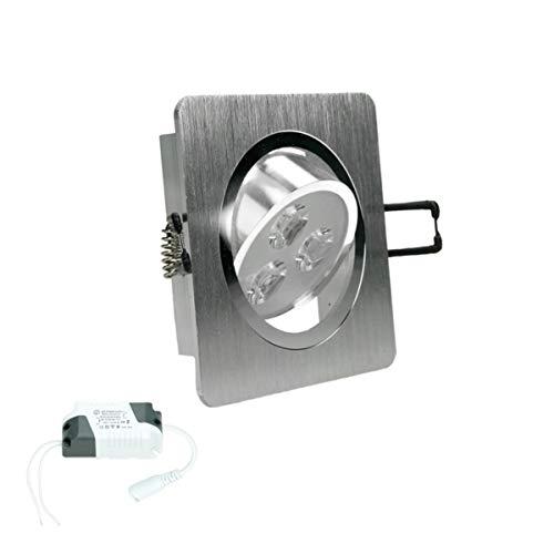 ECD Germany 2-pack foco LED empotrable 3W 230V - angular - 245 lúmenes - blanco frío 6000K - giratorio 30 ° - IP44 - plafón empotrable plafón plafón foco empotrable foco
