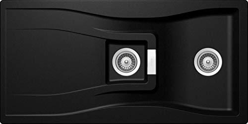 SCHOCK Küchenspüle mit 1½ Becken 100 x 50 cm Waterfall D-150 Magma - CRISTADUR schwarze Spüle mit Abtropffläche ab 60 cm Unterschrank-Breite