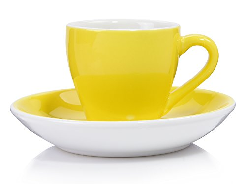 Sänger Espressotasse Set 'Colours' mit Untertasse aus Porzellan 12 teilig | Füllmenge 80 ml | Hochwertig gefärbtes Porzellan mit angenehmen Trinkrand Gelb