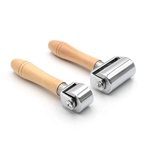Pack of 2 Leather Glue Laminating Roller Leather Press Edge Roller Platen Tools for Craft DIY (26mm + 60mm)