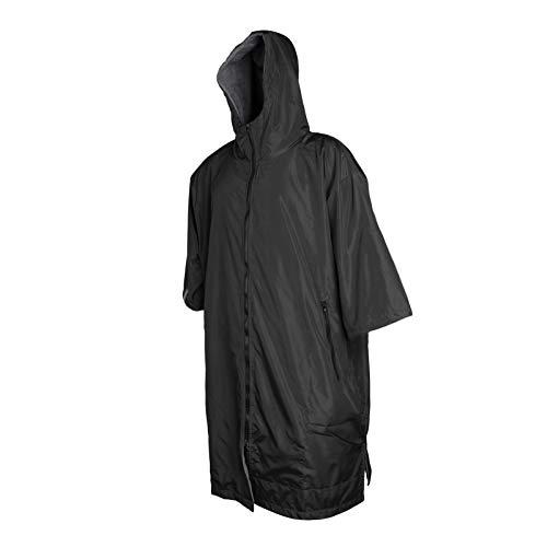 sharprepublic Erwachsener Wind dichter wechsel Mantel mit Fleece Futter Lange wasserdichte Wind Jacke mit Kapuzen Poncho warm Anorak warm ausgekleideter Mantel - Schwarz