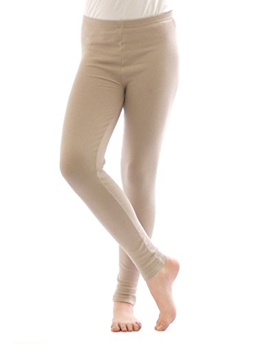 yeset Thermo Leggings Leggins Hose lang aus Baumwolle Fleece warm dick weich beige XXL