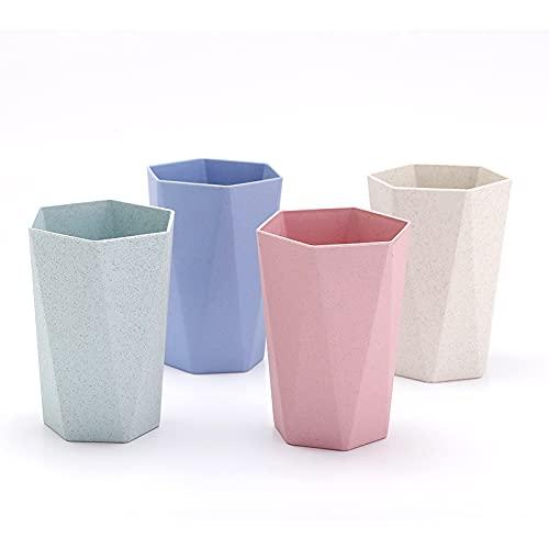 Vaso de fibra de paja de trigo Pack de 4 vasos Vaso niños y adultos Reutilizable Ecofriendly Libre BPA