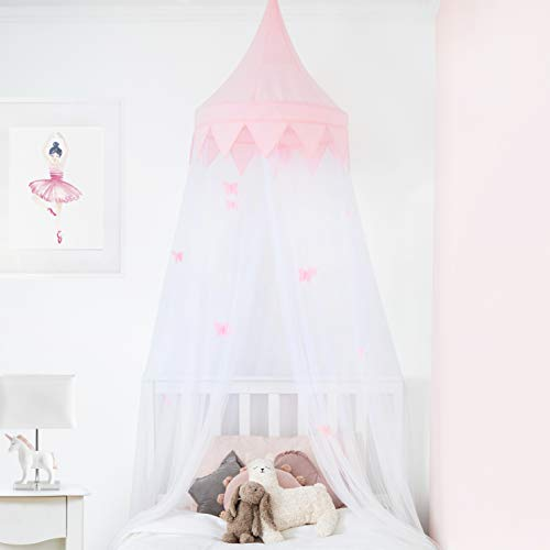 Elk and Friends Princess Girls Bed Canopy with Pom Poms and Butterflies That Glow in The Dark | Mosquito Net for Baby Crib | Reading Nook Canopy