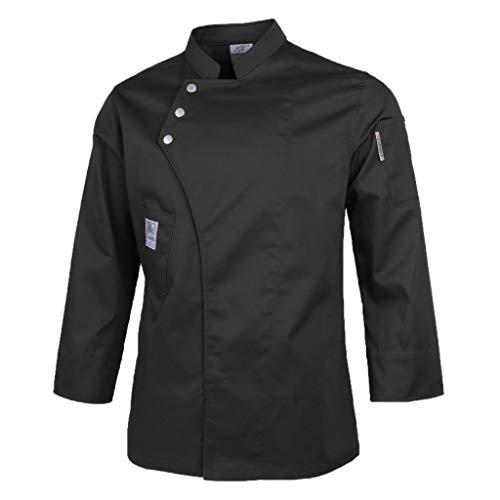 dailymall Unisex Kochjacke Langarm Bäckerjacke Jacke, Kochkleidung Hotel Restaurant Uniform Berufsbekleidung mit Druckknöpfen für Damen und Herren - Schwarz, XXXL