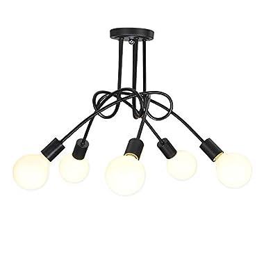 Vintage Ceiling Light Fixtures LED Black Metal Industrial Lights Flush Mount Chandelier Compatible Living Room Dining Room Bedroom E27 5 Arms(No Light Bulb)