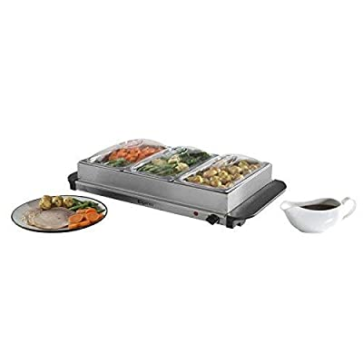 Three Tray Buffet Server with Keep Warm Function and Warming Tray