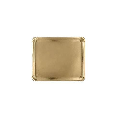 Bandeja Cartón Pasteleria Oro 12 x 19 cm. 100 unidades