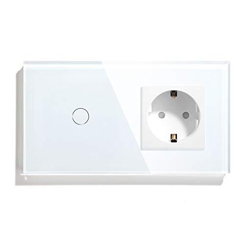 BSEED Normale Schuko Steckdose mit Smart Alexa WIFI-Berührungssensor Schalter(Neutralleiter Erforderlich) 16 Amp Netzstecker Glasscheibe 1 Fach 1 Way Wandleuchte Weiß