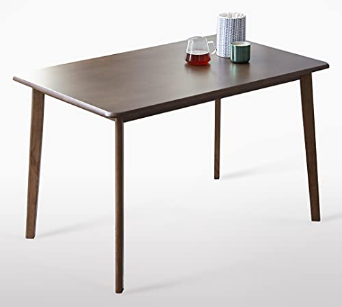 Livinia Canberra 47.2' Dining Table/Mid Century Solid Rubber Wood Kitchen Table, Walnut