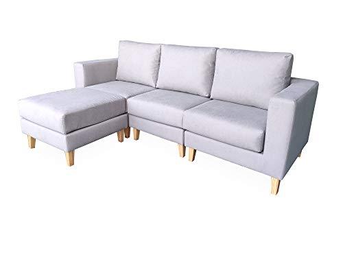 Gasten a gusto- Sofá chaiselongue 3 plazas con Chaise- Sofá con Poco Fondo. Sofá por modulos. Tela Antimanchas Gris