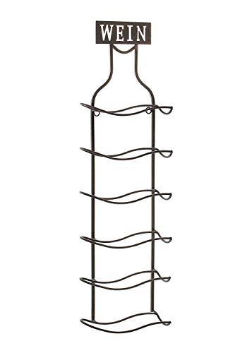 Dekoleidenschaft Wandregal Wein aus Metall in Rost-Optik, für 6 Flaschen, Weinregal