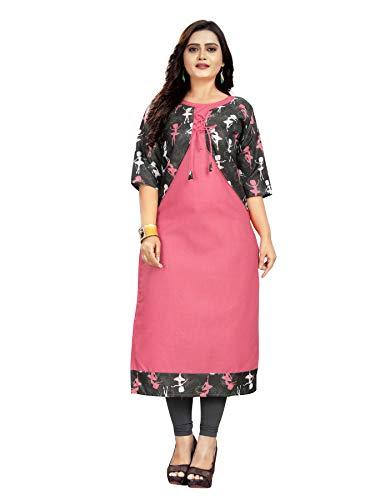 SK Enterprise Women's Jacket Style Cotton Kurtis (XX-Large, Pink)