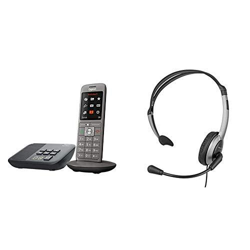 Gigaset CL660A - Schnurloses Telefon mit Anrufbeantworter und großem TFT-Farbdisplay - Benutzeroberfläche, anthrazit-metallic & Panasonic RP-TCA430E-S Headset für KX-TGxx Serie