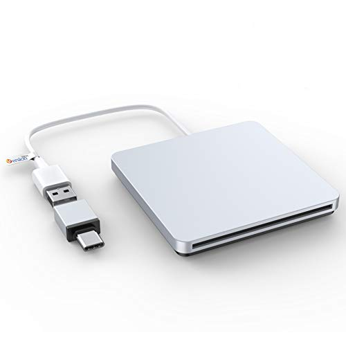VersionTECH. External DVD CD Drive, USB Type C Portable External Ultra Slim Superdrive Burner Optical Drive CD RW DVD RW Disc Duplicator Compatible with Mac MacBook Pro Air iMac and Laptop