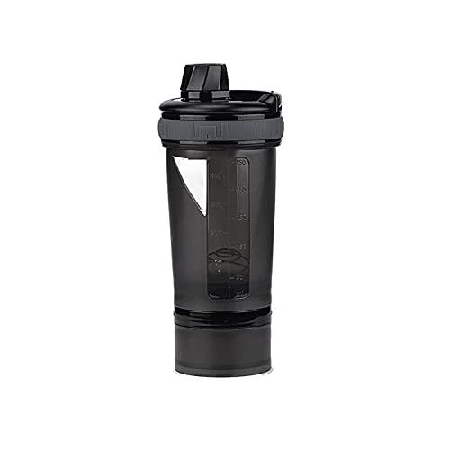 Kjgasutq Slb - Botella de plástico con mango y pajita, color negro, 600 ml