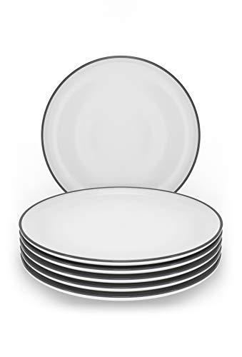 Kuchenteller 6er Set - Moderne kleine Frühstücksteller weiß im Trendy Skandinavischen Design - Spülmaschinenfestes Keramik Teller Set - 6 flache Teller - Stilvolles Geschirr Set von Pure Living