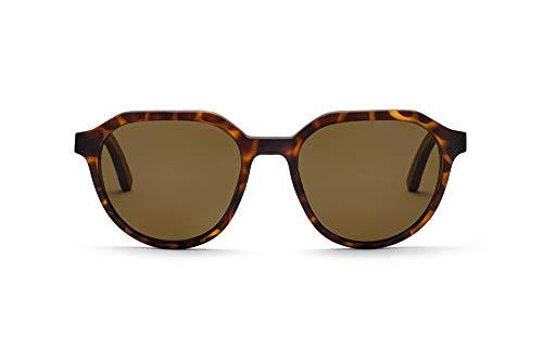 TAKE A SHOT – Flattop Holz-Sonnenbrille unisex, Holz-Bügel, Kunststoff-Rahmen, UV400 Schutz, rückentspiegelte Gläser - Francis