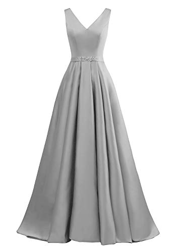 yinyyinhs Damen V-Ausschnitt Ballkleider Eine Linie Lange Perlen Formelle Abendkleider mit Taschen Größe 54 Silber