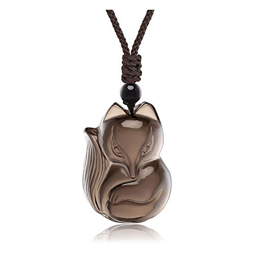 Top Plaza Mens Womens Lucky Fox Amulet Protection Pendant Necklace Adjustable Reiki Healing Crystal Ice Obsidian Gemstone Necklaces Fox Jewelry -#2