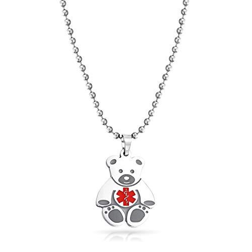 Bling Jewelry Identificación Personalizada Alerta médica ID de Oso de Peluche Encanto...