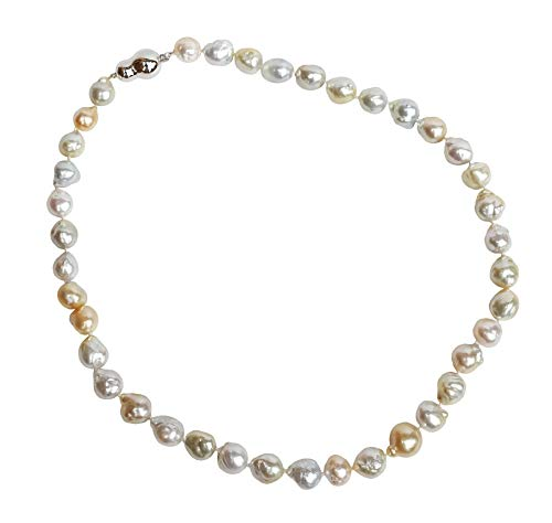 Chiara Tedeschi Jewerly Collana 39 Perle Naturali Australiane Sferiche Ø9.2x12.2mm con Chiusura OG18k