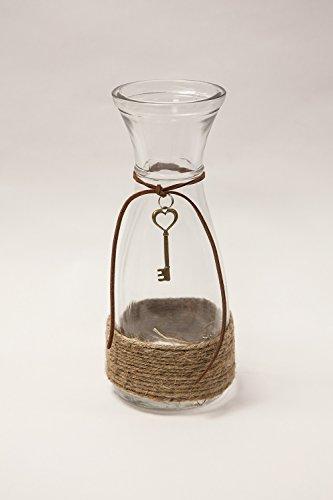 Kleine glazen Vintage Vaas met Hessische String 20 cm Bruiloft Decor Centrepiece