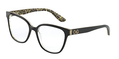 Dolce & Gabbana Dg3321, Damenbrille, Black On Damast, Glitter Black (3215)