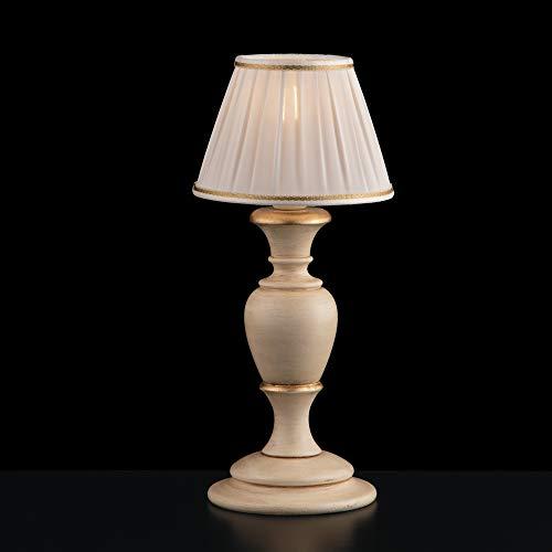 Lumetto de madera clásico provenzal marfil y hoja dorada 1 luz flor