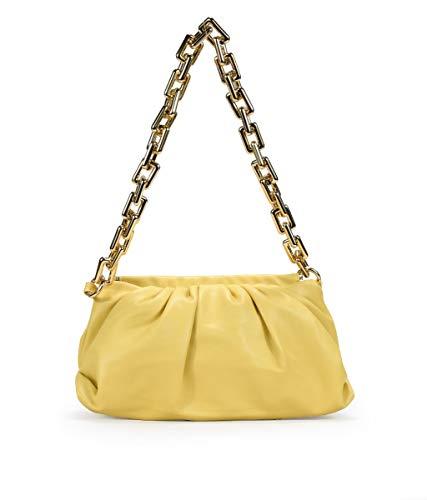 BOSANOVA Bolso pouchette Negro con Cadena Amarillo U