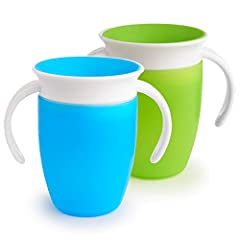 Set of (2) 7 ounce toddler cups with dentist recommended spoutless design 360 degree drinking edge eliminates spills completely Cup automatically seals when you are done drinking Handles are easy for little hands to hold Easy to clean with no extra v...