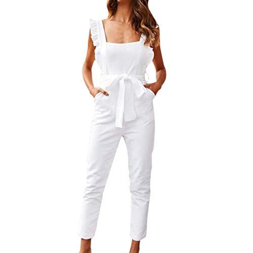 Vectry Mono Largo Mujer Elegante Bodysuit Mujer Sexy Pantalones Casuales para Mujer Jumpsuit Fitness Mujer Monos Estampados Mono Mujer Blanco