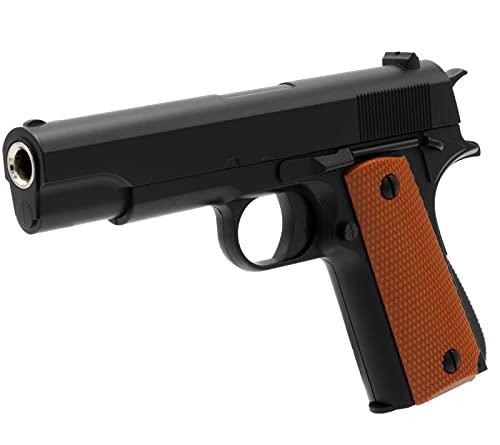 B.W. Softair Gun Airsoft Pistole + Munition | V11 - Schwarz Profi Vollmetall | 19cm. Inkl. Magazin & unter 0,5 Joule (ab 14 Jahre)