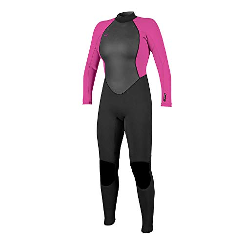 O'Neill Wetsuits Damen Reactor II 3/2mm Back Zip Full Wetsuit Neoprenanzug, Black/Berry, 14