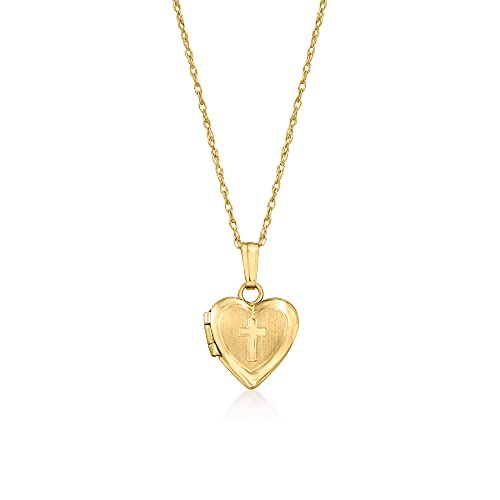 Ross-Simons Baby's 14kt Yellow Gold Cross Heart Locket Necklace. 13 inches