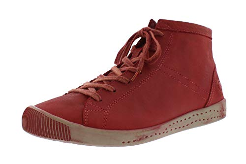 Softinos Damen Sneakers Isleen, Frauen High Top Sneaker,lose Einlage, sportschuh Sneaker-Stiefelette mid-Cut Freizeit,Rot(Scarlet),40 EU / 6.5 UK