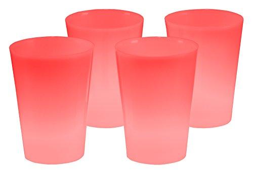 4er Set Knicklicht Becher Knick Leuchtbecher, Cocktailbecher, Trinkbecher 350 ml Rot Trinkglas Cocktailglas beleuchtet