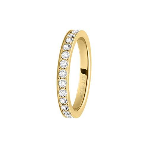Morellato Anello da donna, Collezione Love Rings, in acciaio, PVD oro giallo e cristalli - SNA39018
