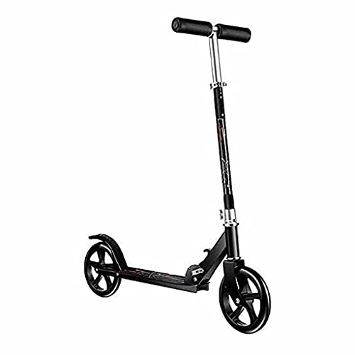 WZWHJ wunderschönen 2 Roll-Roller-Stunt-Scooter-Scooter, Faltbarer Roller, mit einstellbarem Griff, 100 kg Tragfähigkeit (Farbe: Schwarz) (Color : Black)