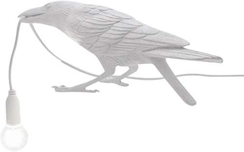 Nordic Resin USB Birds Lámpara de mesa Dormitorio Resina Crow Lámpara de escritorio Luz de noche Aplique de pared-White_Sitting Lámpara de mesa