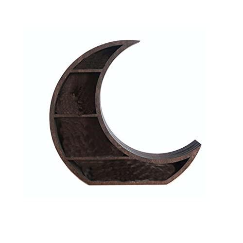 N / B Estante Moon montado en la Pared, artesanía de Madera Maciza, Estante de exhibición de Cristales, Media Luna, estantes flotantes de Madera, Almacenamiento