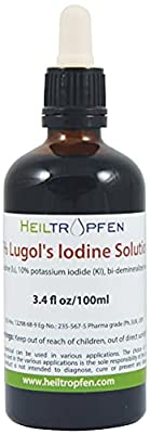 Lugol's Iodine Solution 5% (3.4 Oz. - 100 ml). 5 percent Iodine Supplement - Liquid Drops, Thyroid Support. Made with 5 Percent Iodine and 10% Potassium Iodide from S3 Chemicals