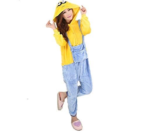 Unisex Halloween Despicable me Minions Onesie Kigurumi Pyjama Karneval Kostüm Maskenkostüm Kapuzenpulli Schlafanzüge S(Height 150cm-160cm)