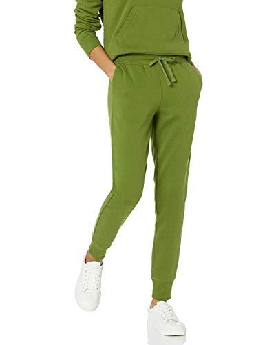 Amazon Essentials Women's Relaxed Fit Fleece Jogger Sweatpant, Green, Medium