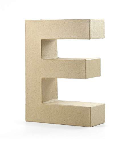 Pracht Creatives Hobby 4875-100E1 - Papp Art Buchstabe E, Pappbuchstabe ca. 10 x 3 cm groß, ideal zum Bemalen, Bekleben und Verzieren, für Serviettentechnik geeignet, als dekorativer Schriftzug