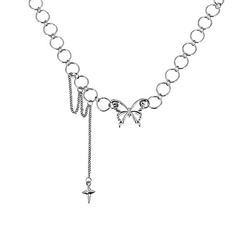 CHENLING Kpop mariposa gargantilla Y2k goth collar vintage mujeres borla cruz collar corto hada núcleo hueco cadena Kolye Jewelry2021